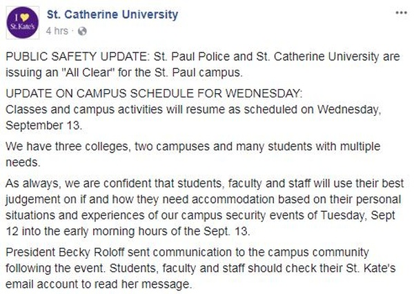 Security Officer Injured in Shooting at St. Catherine University