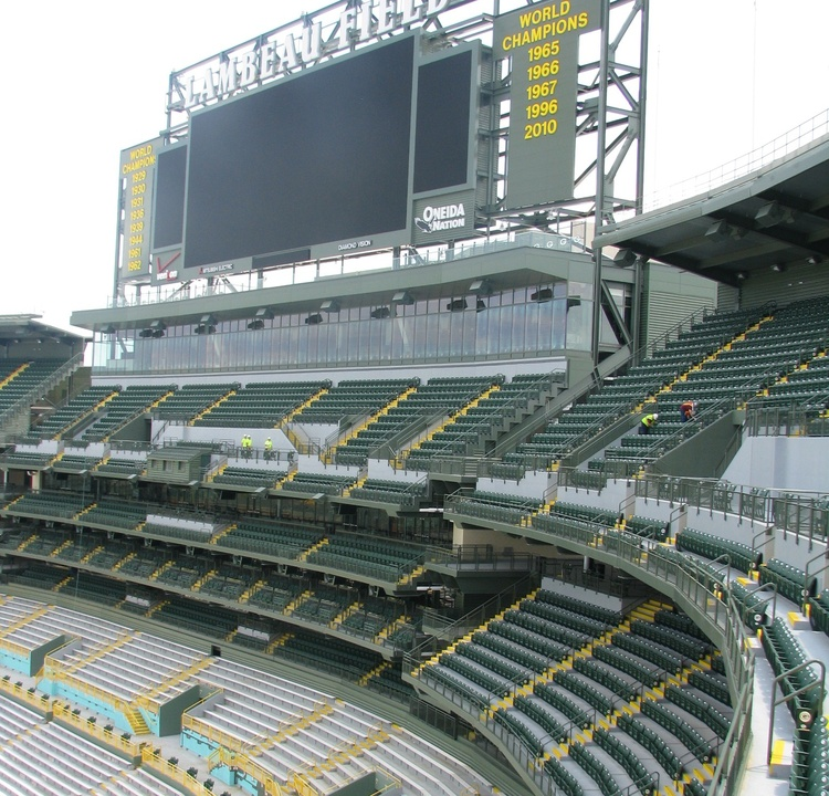 the view of the new south end zone expansion taken from the southwest corner of the project