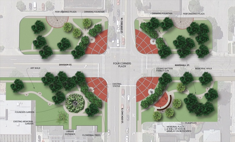 A Conceptual Rendering Of The Proposed Renovation Of The Four Corners Park  In Downtown Coldwater.