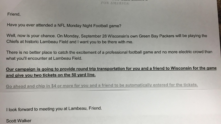 Gov Walker Campaign Fundraising Letter Violates Packers Team Policy