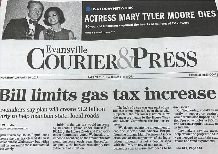 The Front Page Of The Evansville Courier U0026 Press From January 26, 2017. (