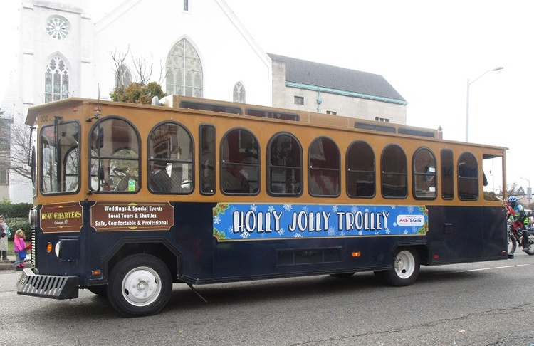 Ride free on the Holly Jolly Trolly November 25 – December 30 Thursdays and Fridays 5 p.m. to 10 p.m. Saturdays 11 a.m. to 10 p.m. and Sundays noon to 4 p.m