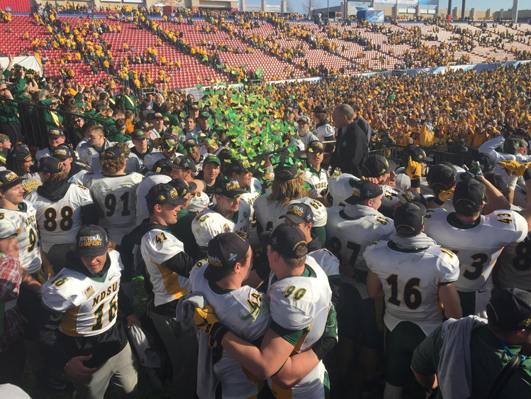 NDSU players celebrate their FCS championship win against James Madison