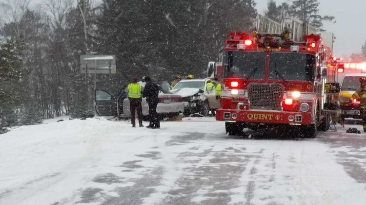 Woman dies in two-vehicle crash on icy Minnesota highway