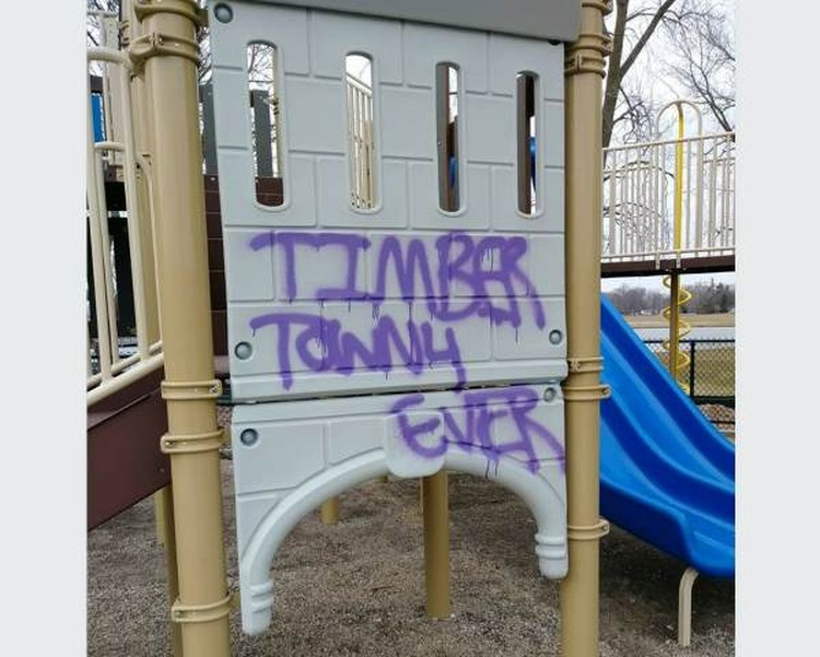 Act Of Vandalism At The Huizenga Park Playground In Zeeland, MI, Done  During Weekend