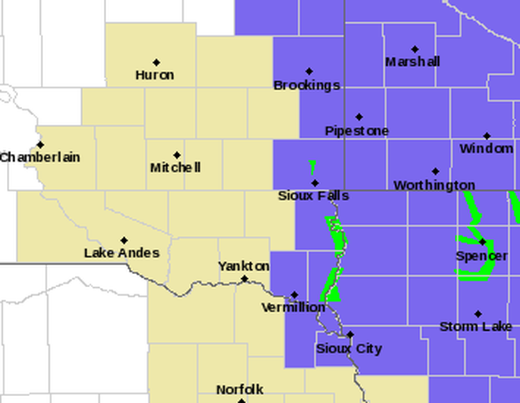 Advisories for Sunday. NWS graphic