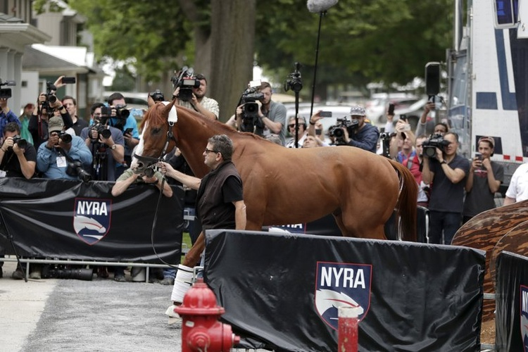606546fe9667 Triple Crown hopefully Justify arrives at Belmont Park ahead of the 150th  running of the Belmont
