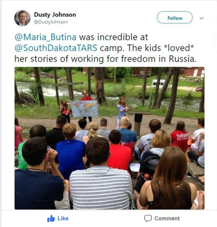 Dusty Johnson's July 15, 2015 tweet praising Maria Butina.