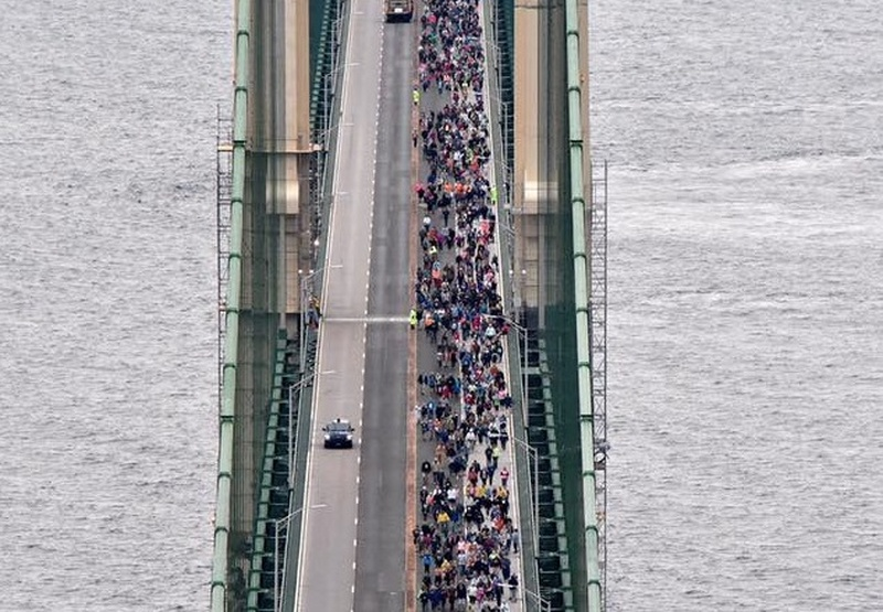 People Participate in 60th Annual Mackinac Bridge Walk